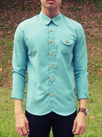 Curve Collar Shirt (Turquoise) - 15% Off