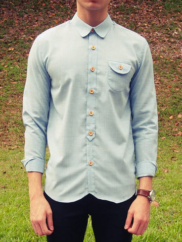 Curve Collar Shirt (Light Blue)