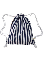 Drawstring Bag in Nautical Stripes (Blue) - 20% Off