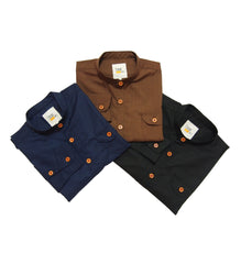 Grandad Collar Shirt (Brown) - 50% Off (LAST PIECE)