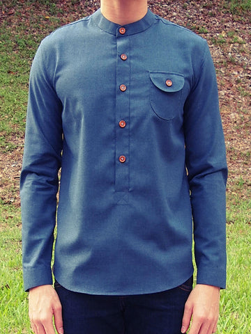 Henley Shirt (Dark Blue) - LAST PIECE