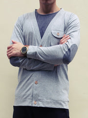 Elbow Patch Cardigan (Light Grey)