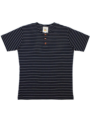 Navy Blue Button Tee in Stripes (Dark Brown Buttons)