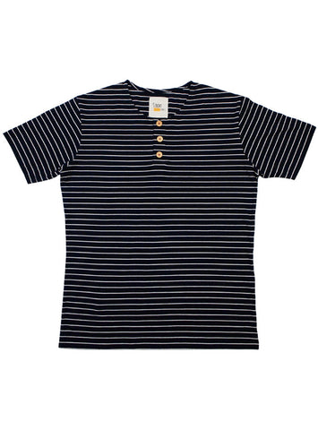 Navy Blue Button Tee in Stripes (Light Brown Buttons)