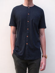 Pima Cotton Short-sleeve Button Shirt (Charcoal Grey)