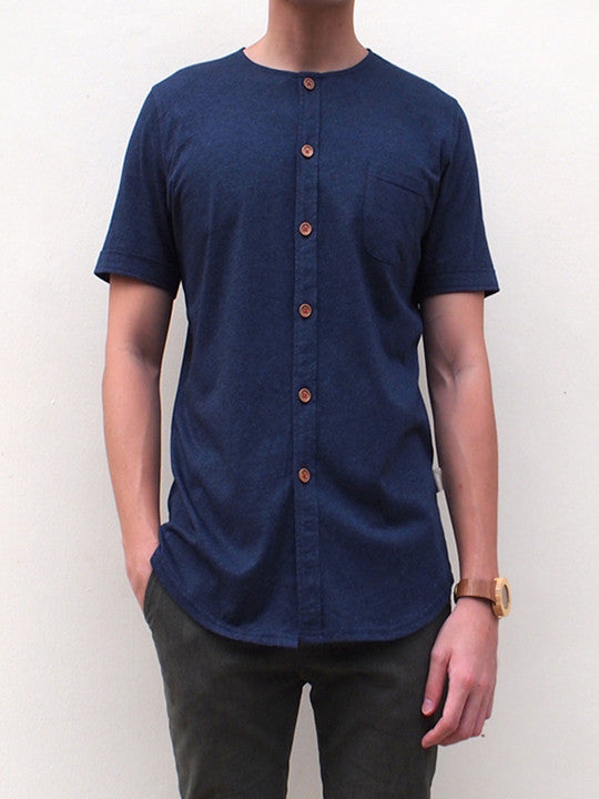 Pima Cotton Short-sleeve Button Shirt (Dark Blue)