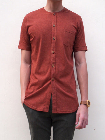 Pima Cotton Short-sleeve Button Shirt (Rock Red)