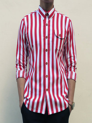 Nautical Stitch-down Collar Shirt (Red)