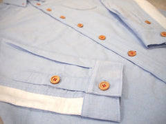 Under-sleeve Contrasting Oxford Shirt (Light Blue)