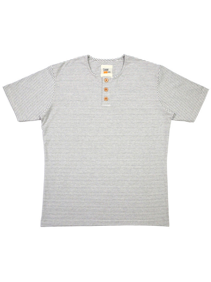 Button Tee in Stripes (White / Light Grey)