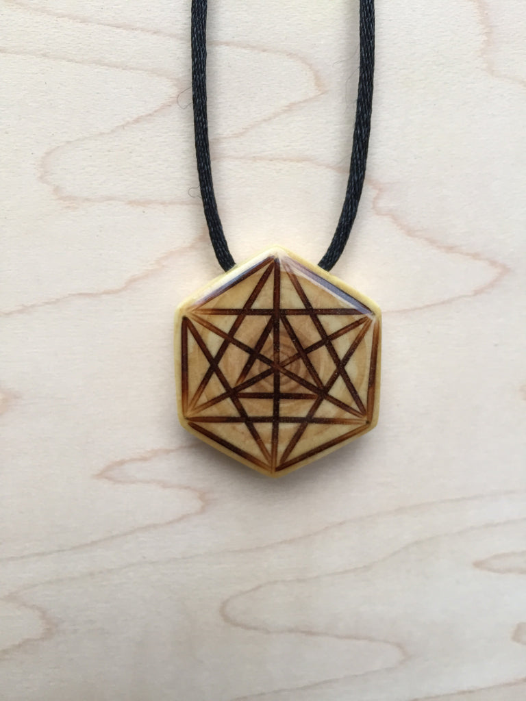 Merkaba Star Tetrahedron Necklace Pendant from Upcycled Christmas Tree Sacred Geometry Jewelry Collection Front View