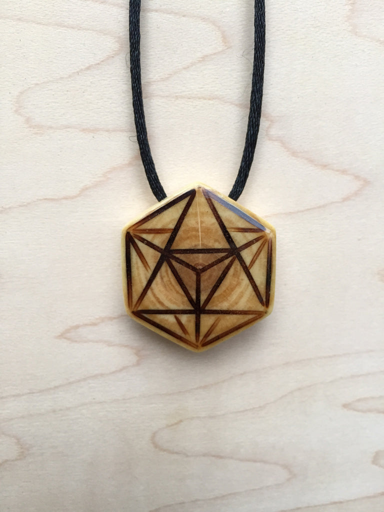 Star Tetrahedron Merkabah Necklace Pendant from Upcycled Christmas Tree Sacred Geometry Jewelry Collection - Front View