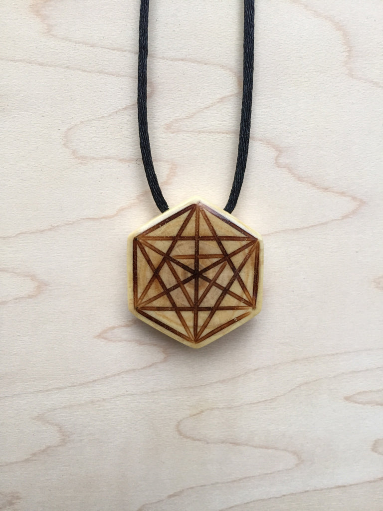 Handmade Merkabah Star Tetrahedron Pendant from Sacred Geometry Jewelry Upcycled Christmas Tree Collection - front view