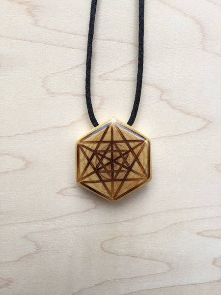 Sacred Geometry Merkabah Star Tetrahedron Necklace Pendant from Upcycled Christmas Tree Jewelry Collection front view