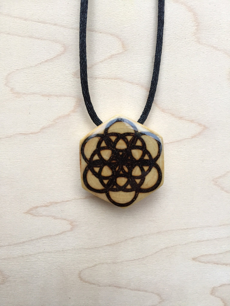 Handmade Upcycled Sacred Geometry Jewelry Star Of Life Necklace Pendant  - Front View
