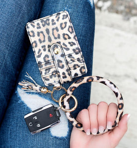 Leopard print key ring bangle