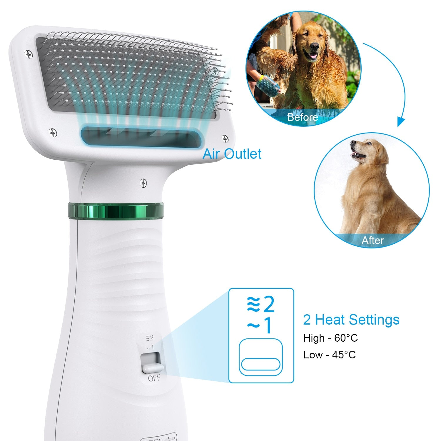 2-In-1 Portable Pet Hair Dryer - Comb Brush - PetsDoo