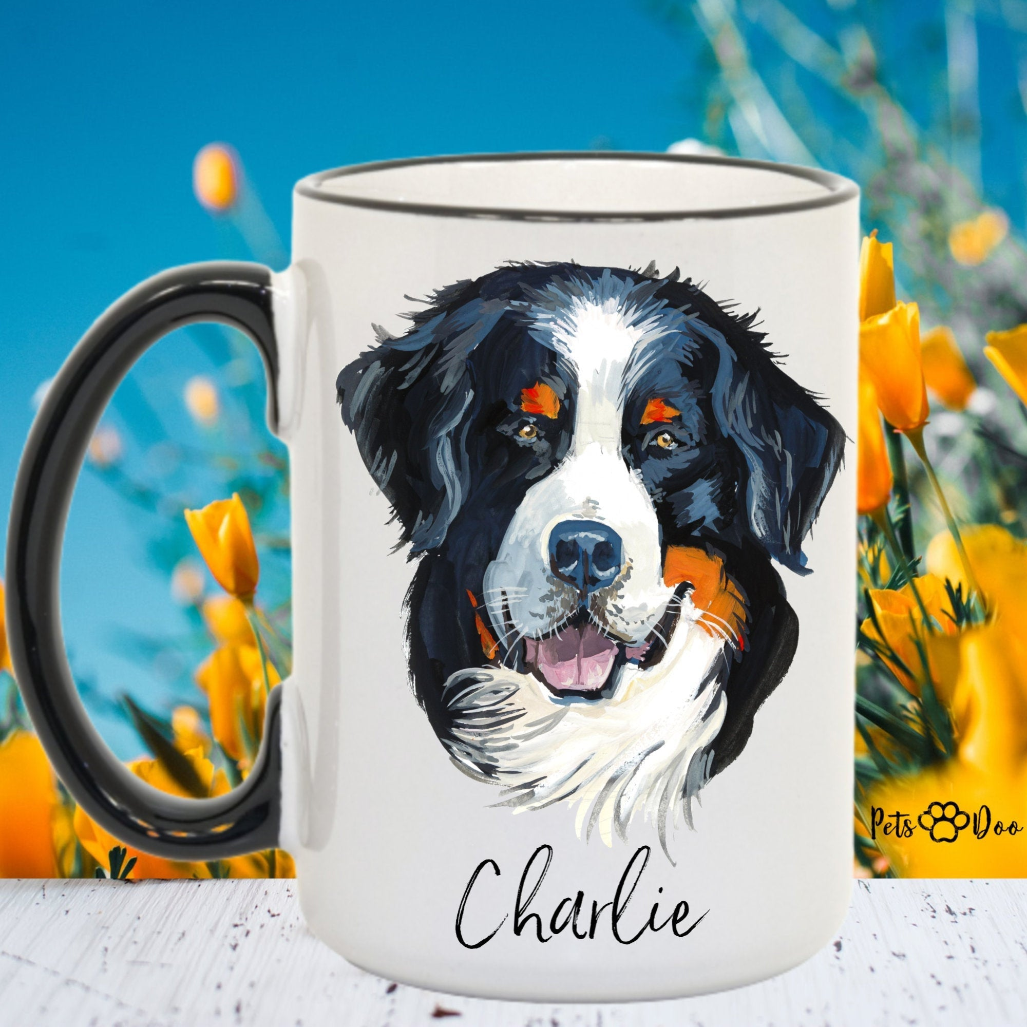 Bernese Mountain Dog Mug - Bernese Mountain Dog Gifts - Personalized Dog Dad Mug  - Dog Mom Owner Gift - Gift Ideas for Dog Lover - PetsDoo