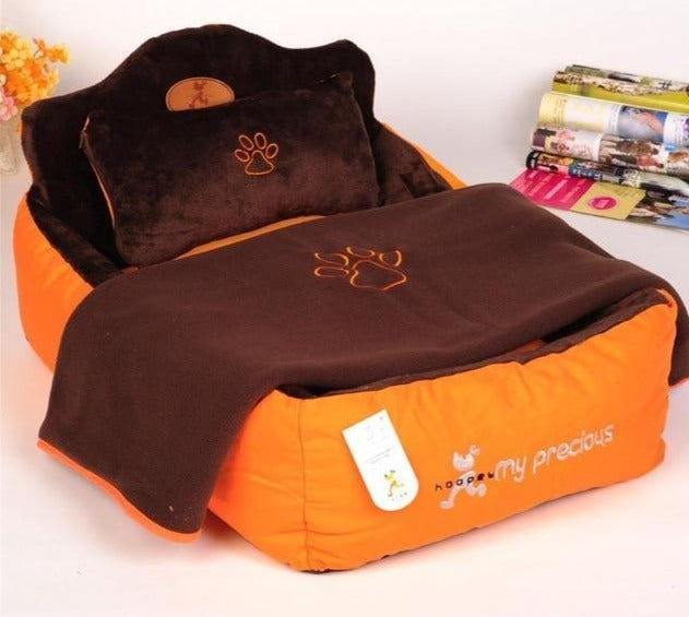 Luxury Pet Bed With Pillow Blanket - PetsDoo