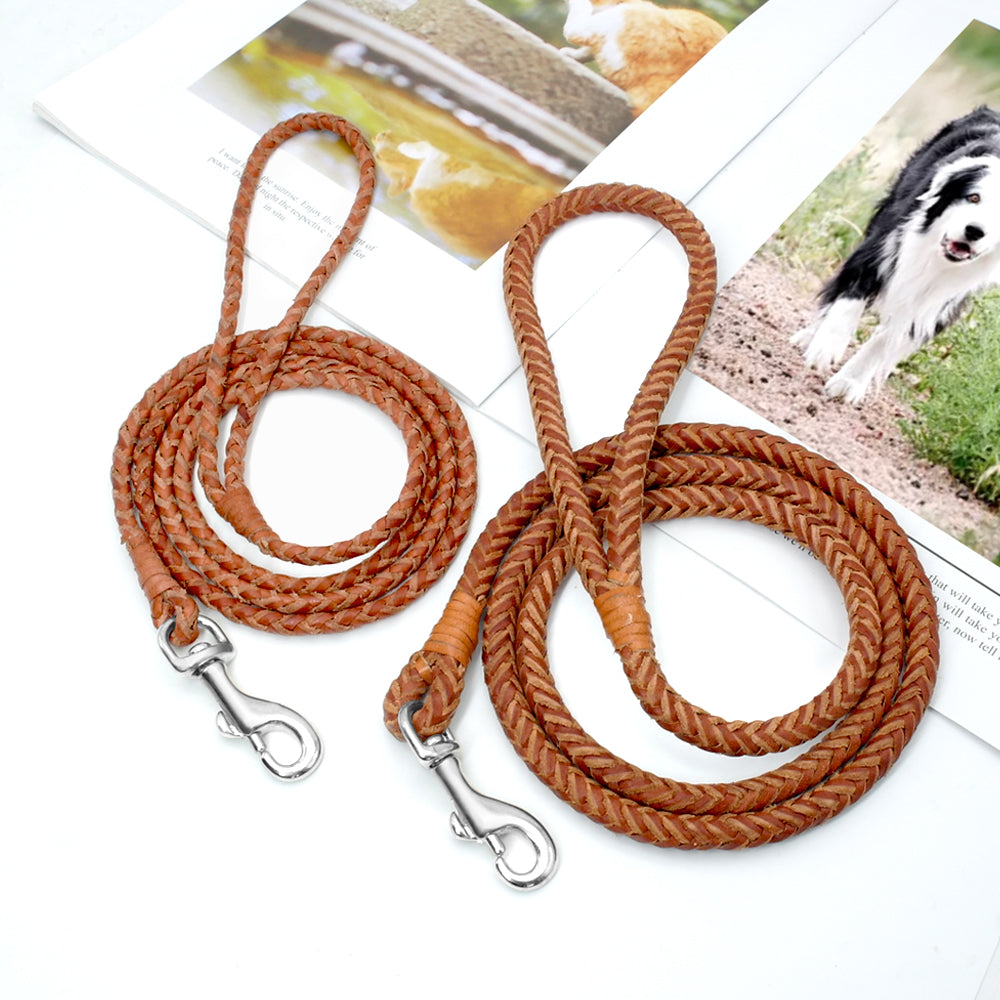 Rolled Leather Dog Leash For Small Medium Dogs - PetsDoo