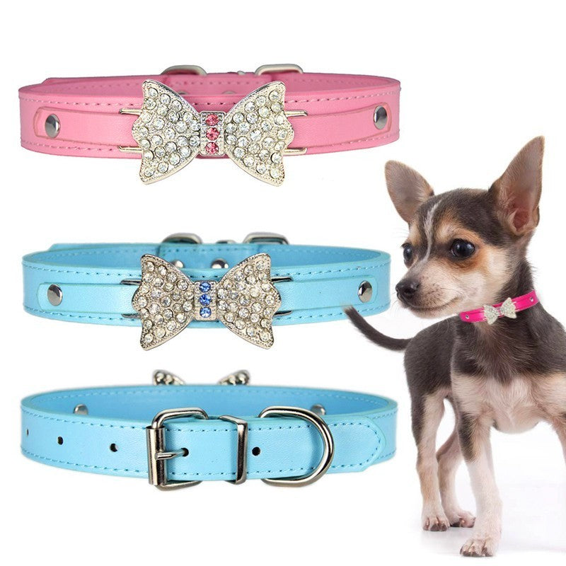 Pet Leather Bling Rhinestone Bow Collar - PetsDoo