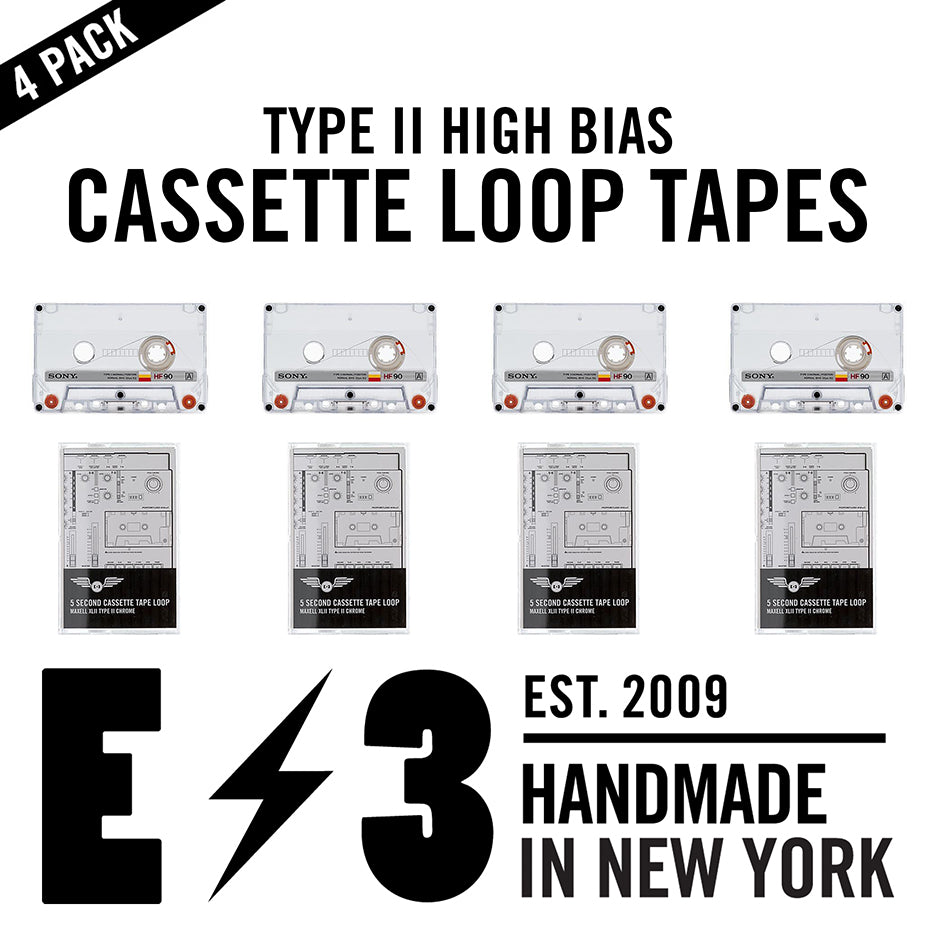 4 Pack Cassette Tape Loops: Vintage Sony HF 90 x XLII  / 5 Second Length *(for Ambient, Lo Fi, and Experimental Home Recording)