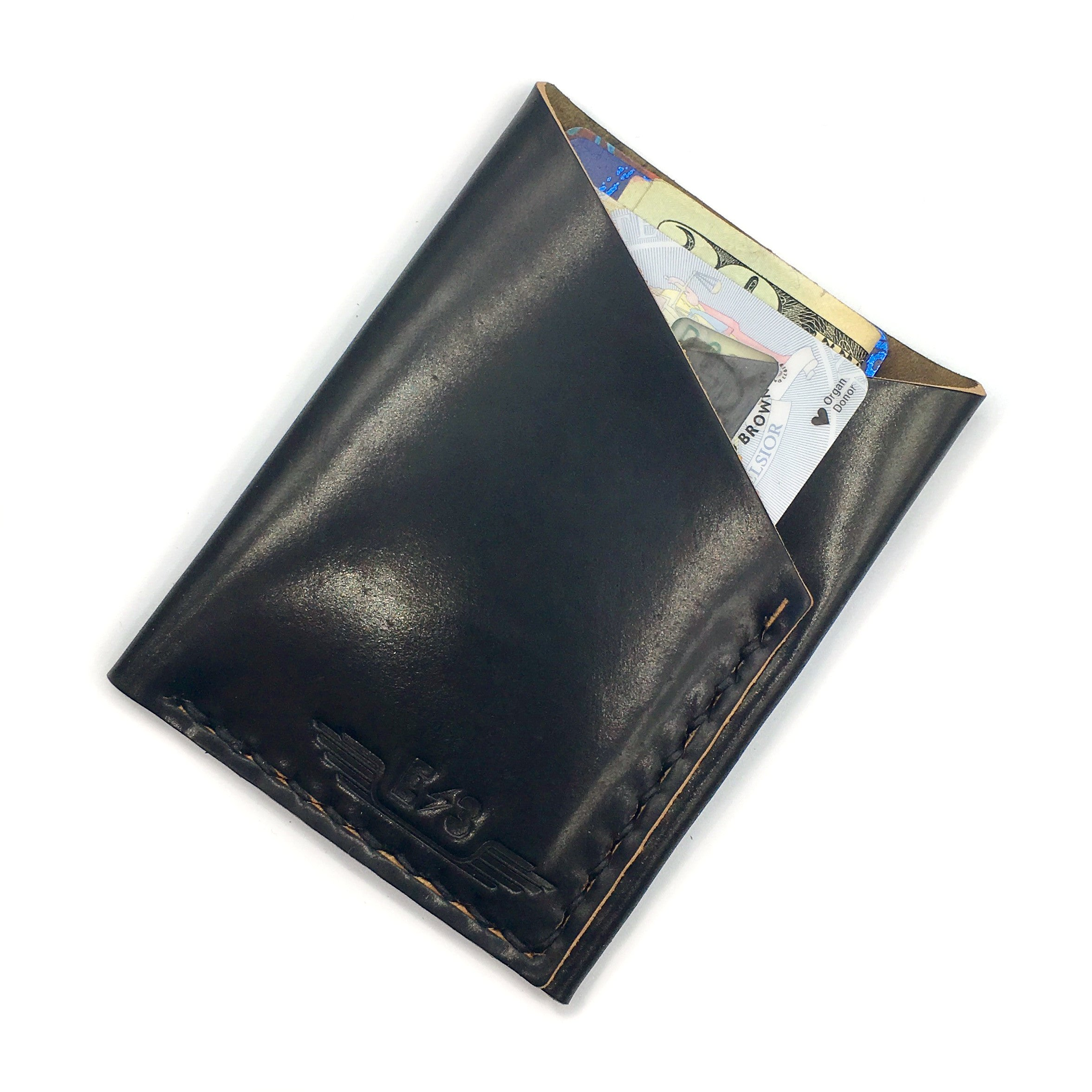 Horween Shell Cordovan Wallet by E3 Supply Co: Black