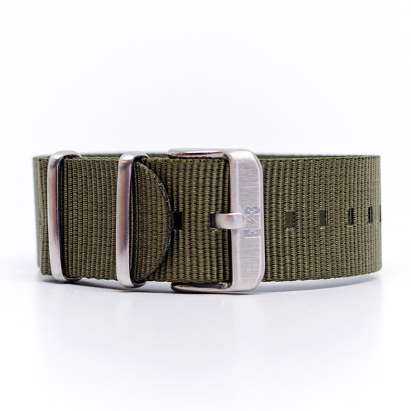 E3 Ballistic Nylon 22mm Military Watch Strap: Olive Green