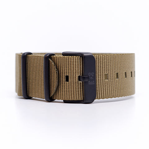E3 Ballistic Nylon 22mm Military Watch Strap: Natural