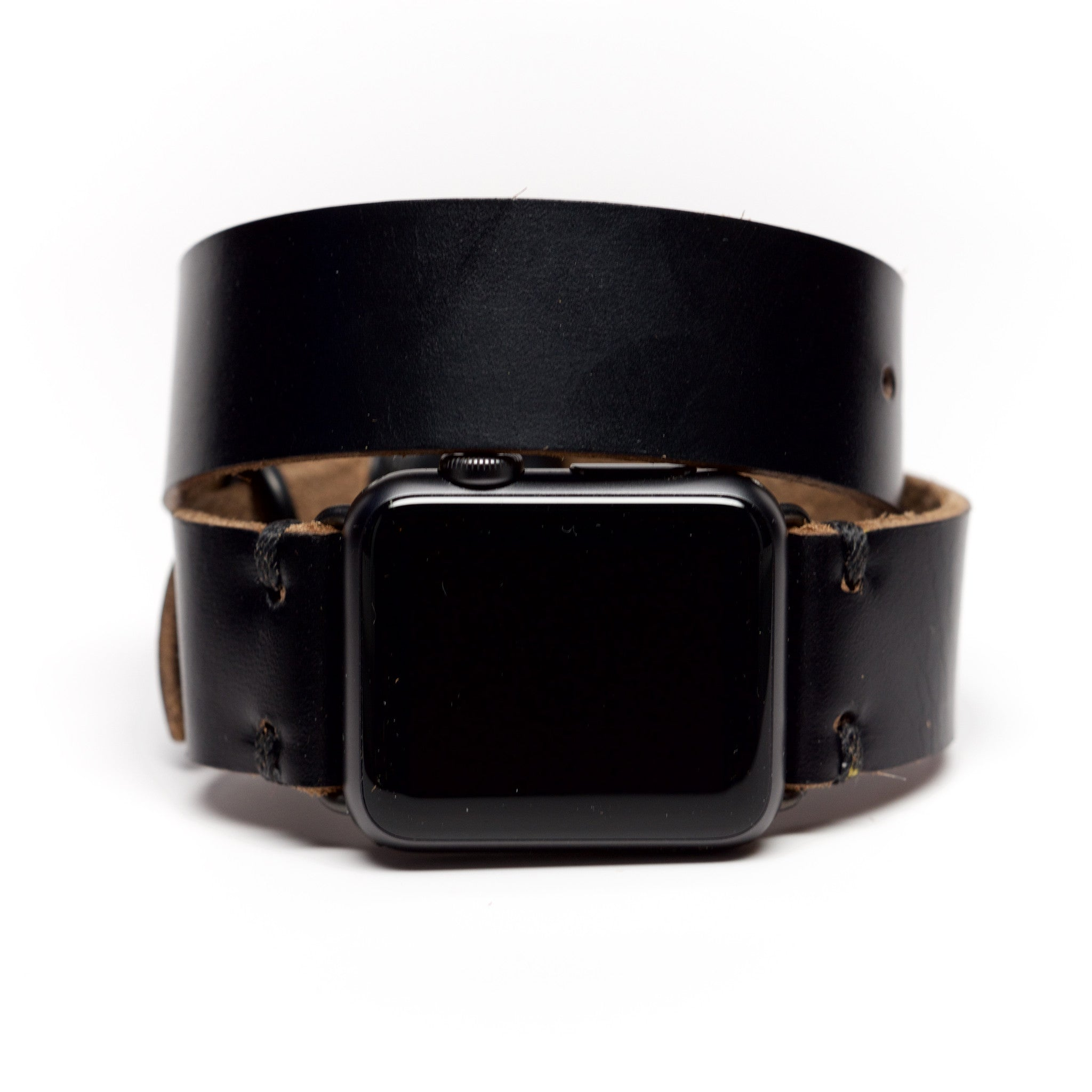 Double Wrap Apple Watch Band by E3 Supply Co. - Black Chromexcel