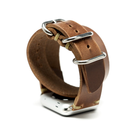 Double Wrap Apple Watch Band by E3 Supply Co. - Natural Chromexcel Leather