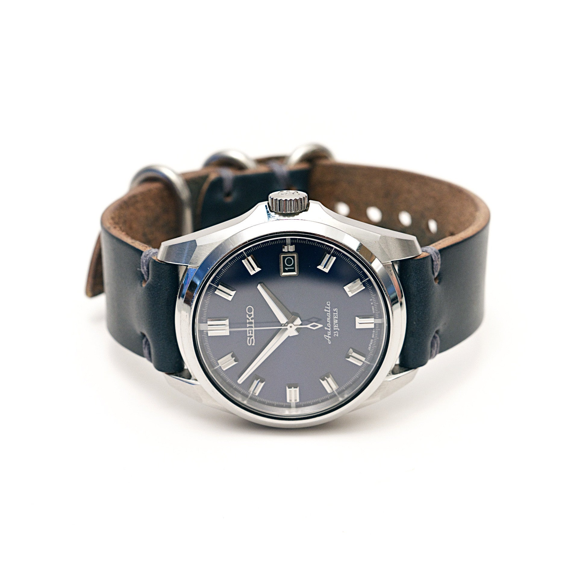 Horween Leather Watch Band: Navy Blue Chromexcel