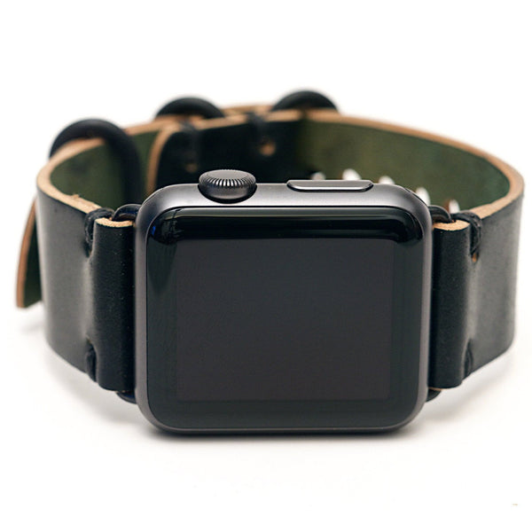 E3 Horween Leather Watch Band for Apple Watch: Black Shell Cordovan