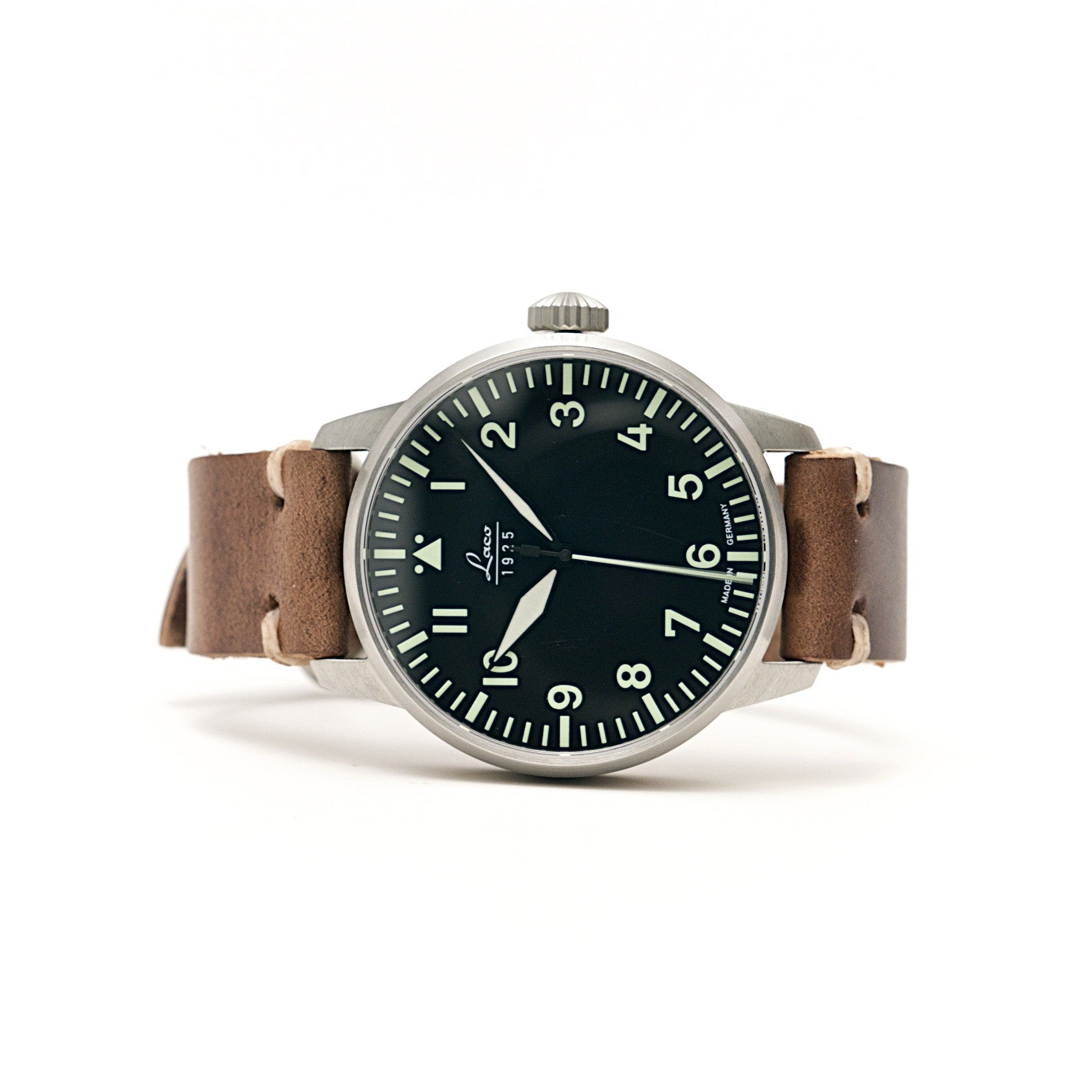 Laco Automatic 42mm Pilot Watch w/ Horween Natural Chromexcel Strap