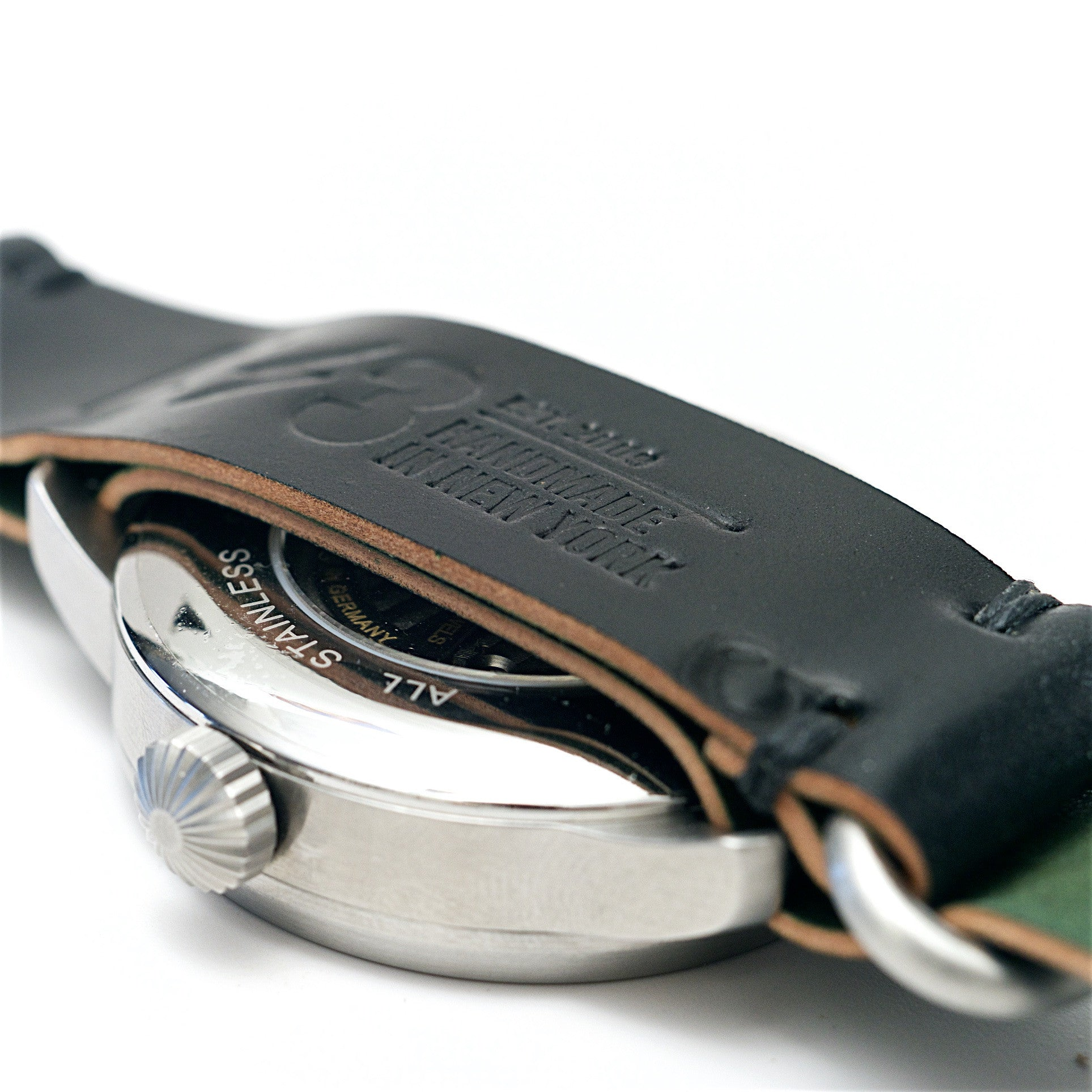 4 Ring Military Style Watch Strap: Black Horween Shell Cordovan