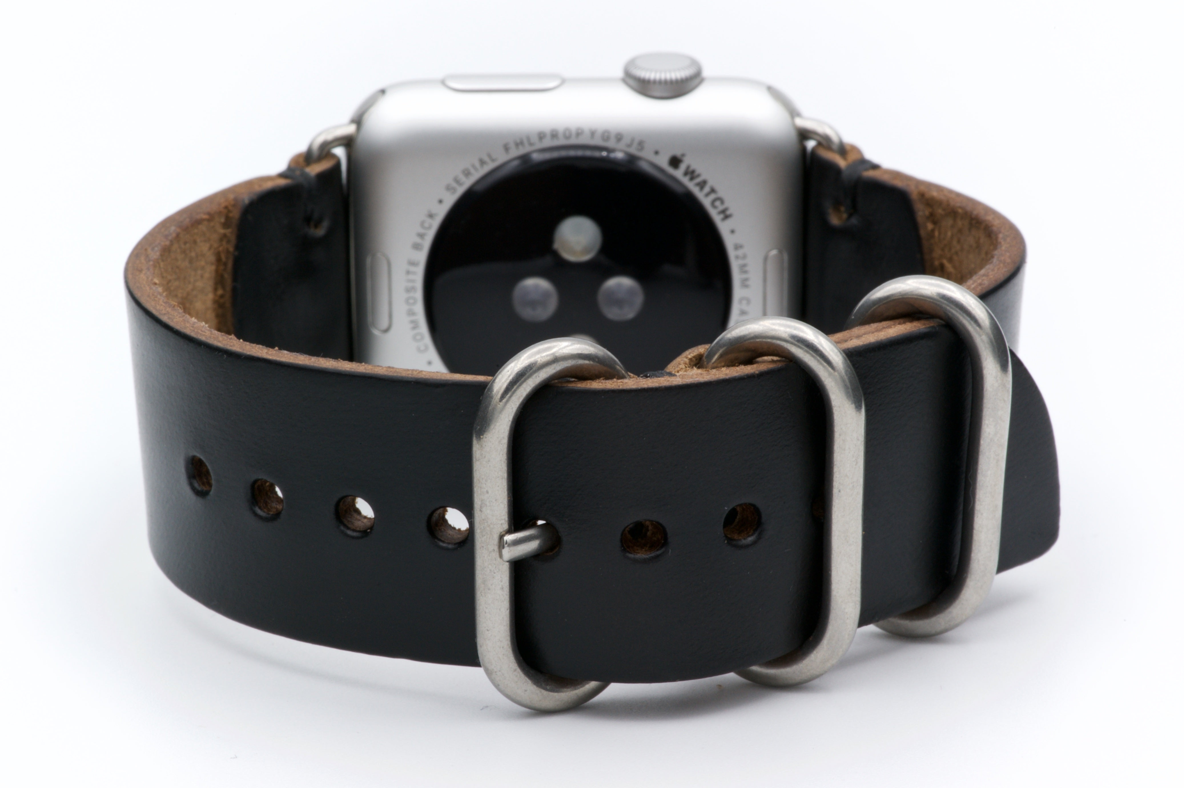 Apple Watch Band for Series 4, 3, 2, 1, and Sport Editions - by E3 Supply Co. - Black Chromexcel Horween Leather