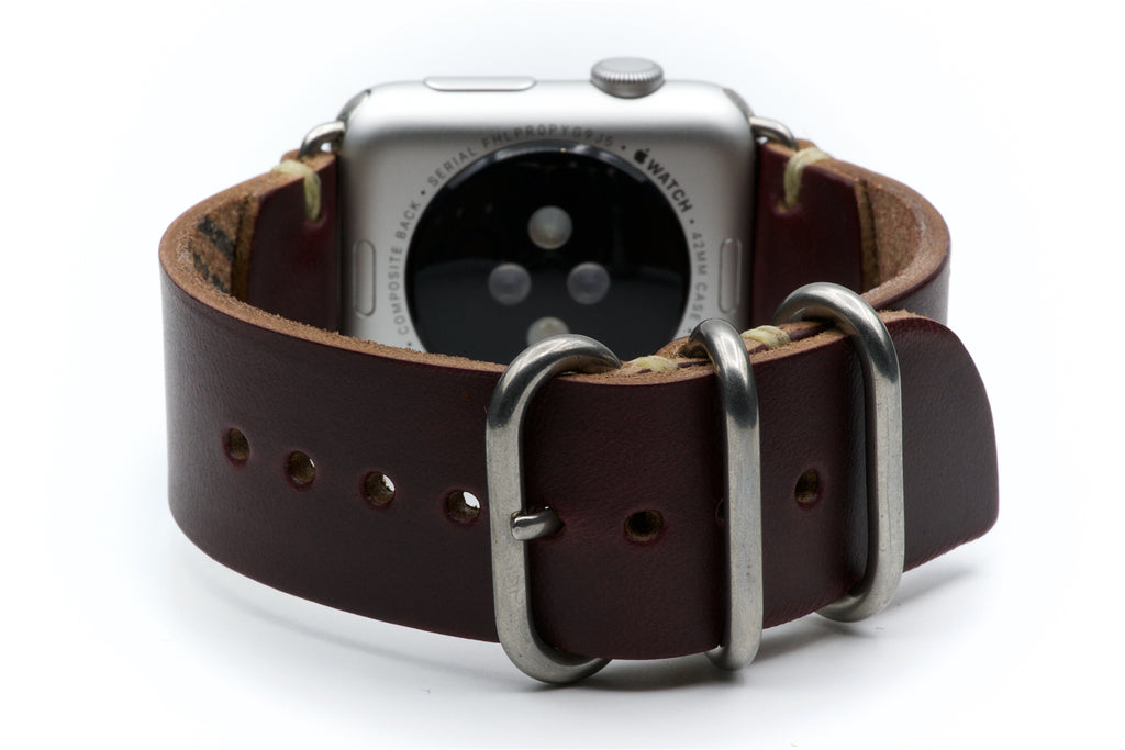 Leather Watch Band for Apple Watch: Burgundy Horween