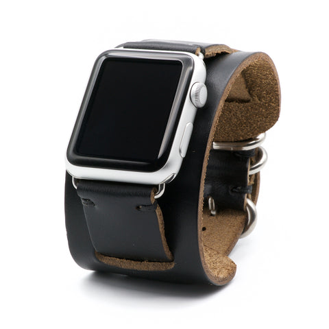 Apple Watch Cuff Band for Series 5, 4, 3, 2, 1, and Sport Editions - by E3 Supply Co. - Black Chromexcel Horween Leather