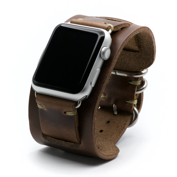 Apple Watch Cuff Band for Series 4, 3, 2, 1, and Sport Editions - by E3 Supply Co. - Natural Chromexcel Horween Leather