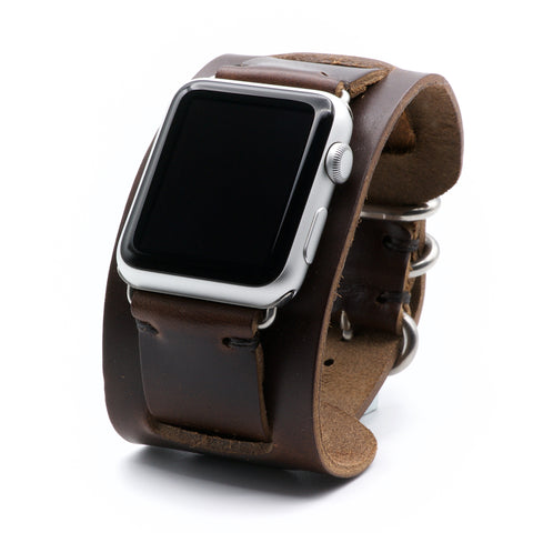 Leather Cuff Band for Apple Watch by E3 Supply Co. - Brown Chromexcel Leather