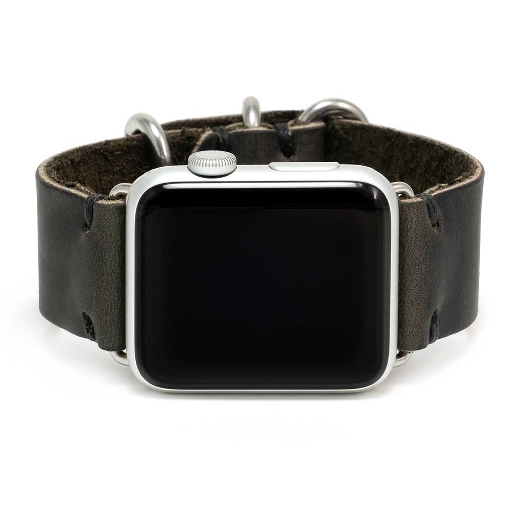 Apple Watch Band for Series 5, 4, 3, 2, 1, and Sport Editions - by E3 Supply Co. - Gotham Black Leather