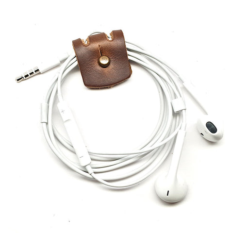 E3 Leather Cord Keeper for Earbud Headphones