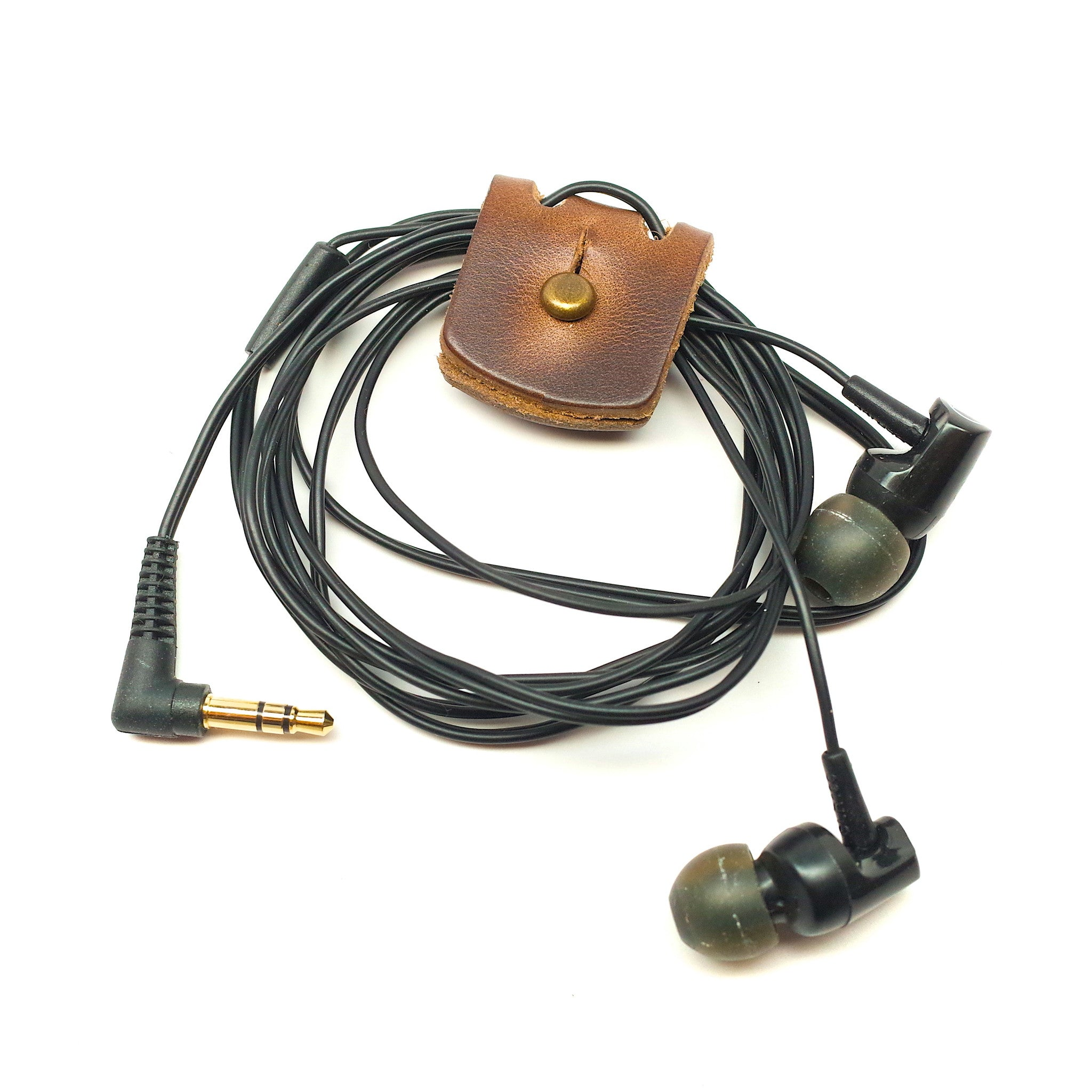 Horween Leather Earbud & Headphones Cord Wrap by E3 Supply Co