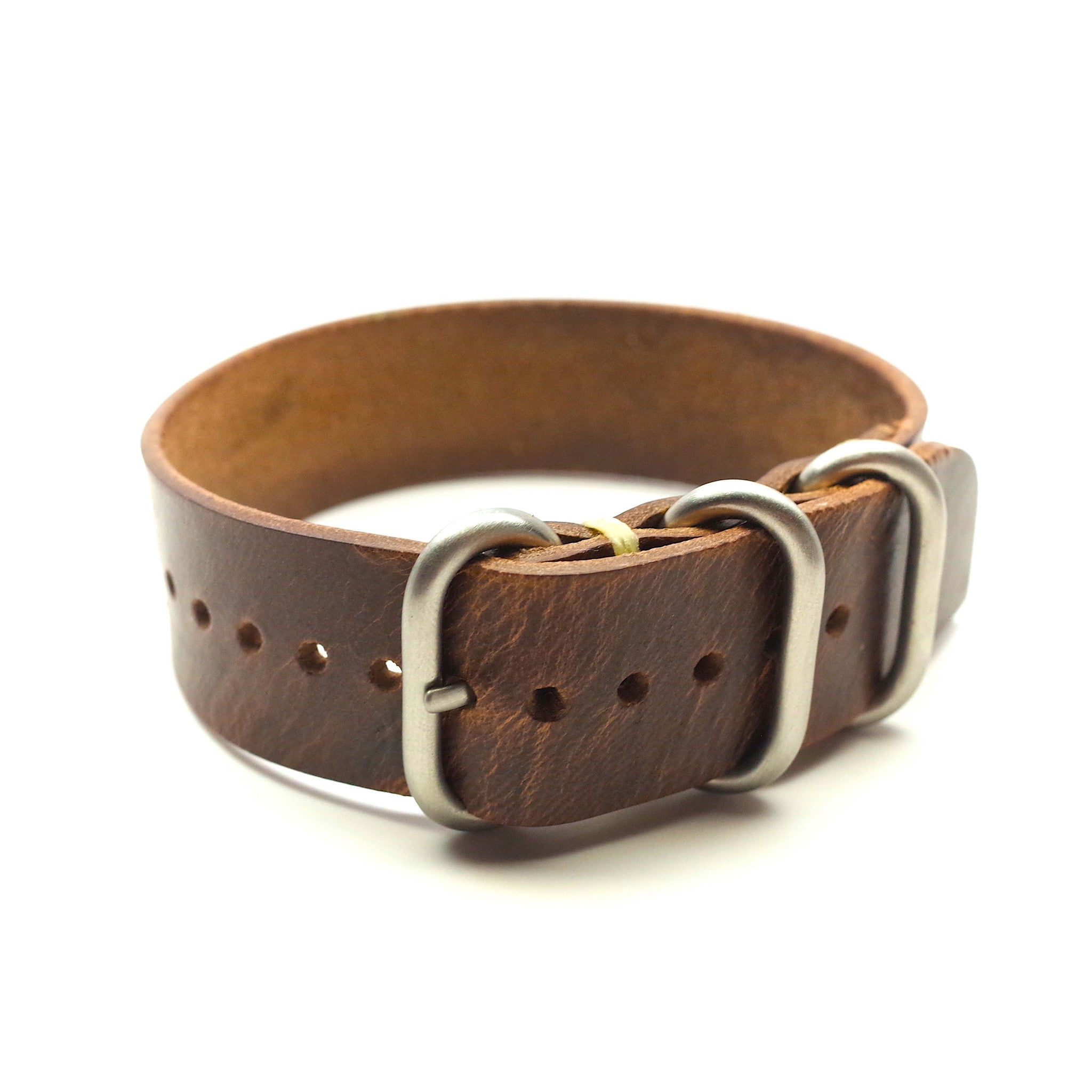 Horween Leather Military Style Watch Band: Natural Chromexcel
