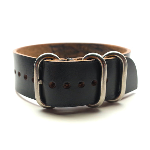 Horween Leather Military Style Watch Band: Black Chromexcel