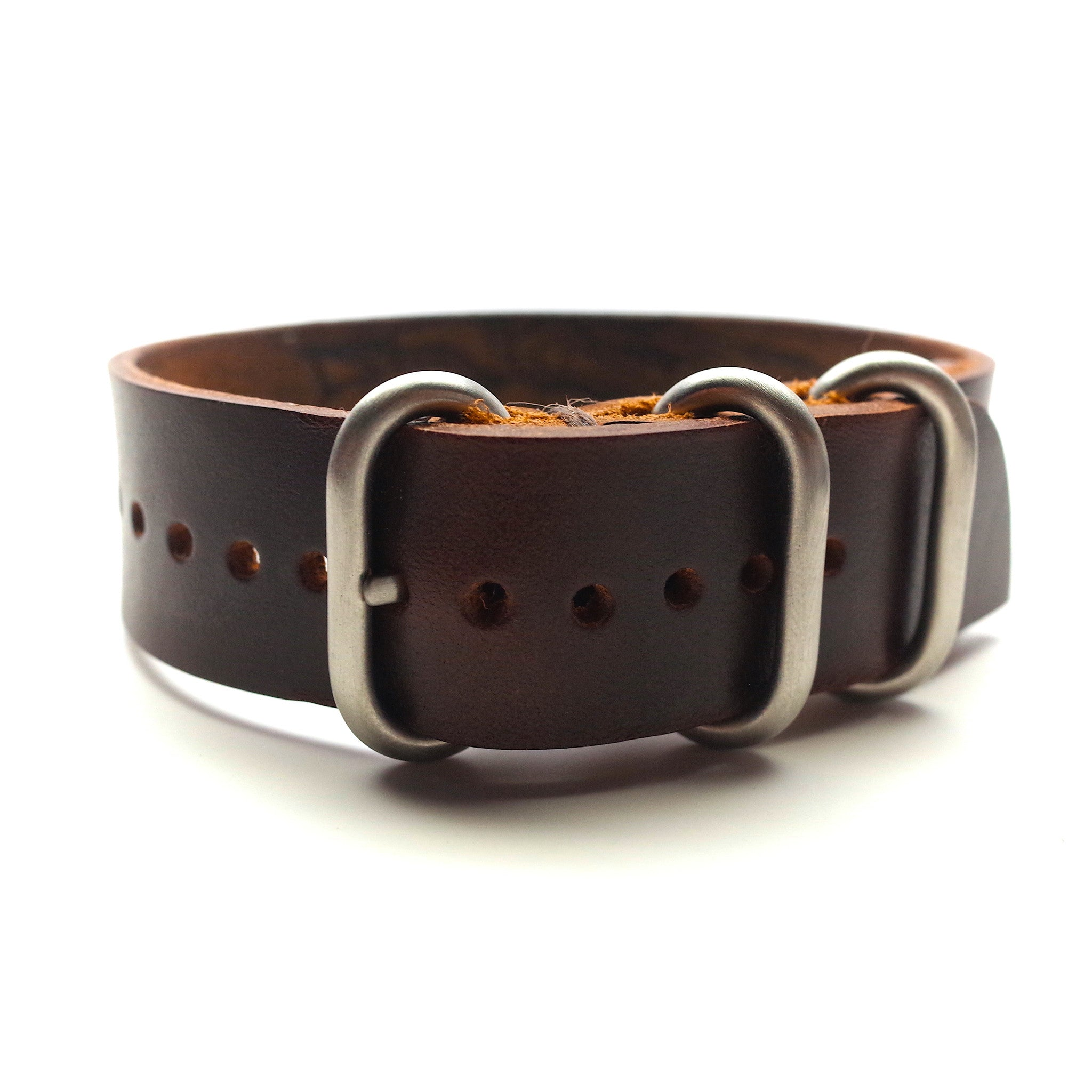 Horween Leather Military Style Watch Band: Brown Chromexcel