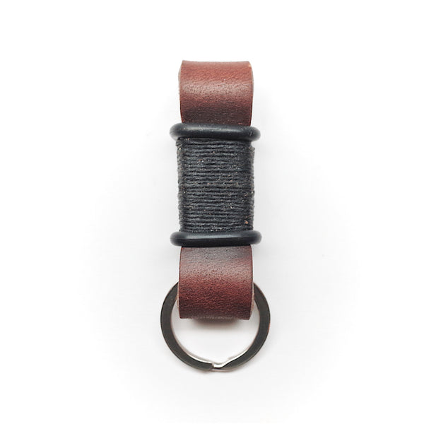 Horween Leather Motorcycle Keychain by E3 Supply Co—Brown/Black