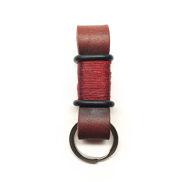 Horween Leather Moto Keychain: Brown/Red