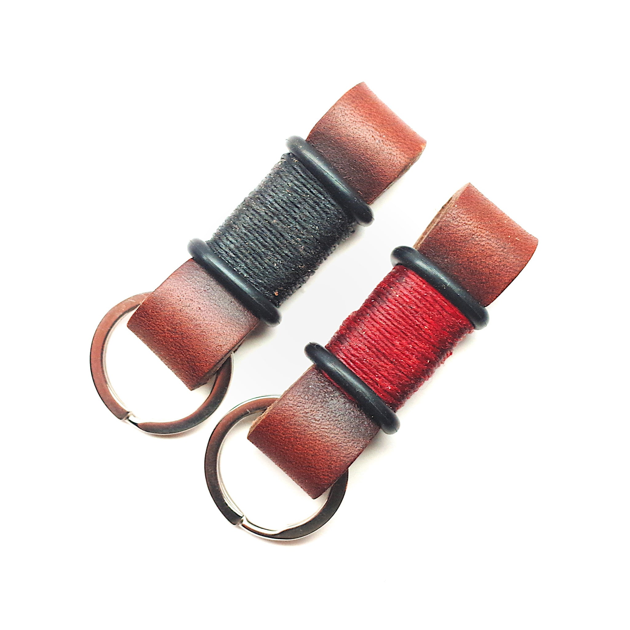 Horween Leather Motorcycle Keychain by E3 Supply Co—Brown/Red