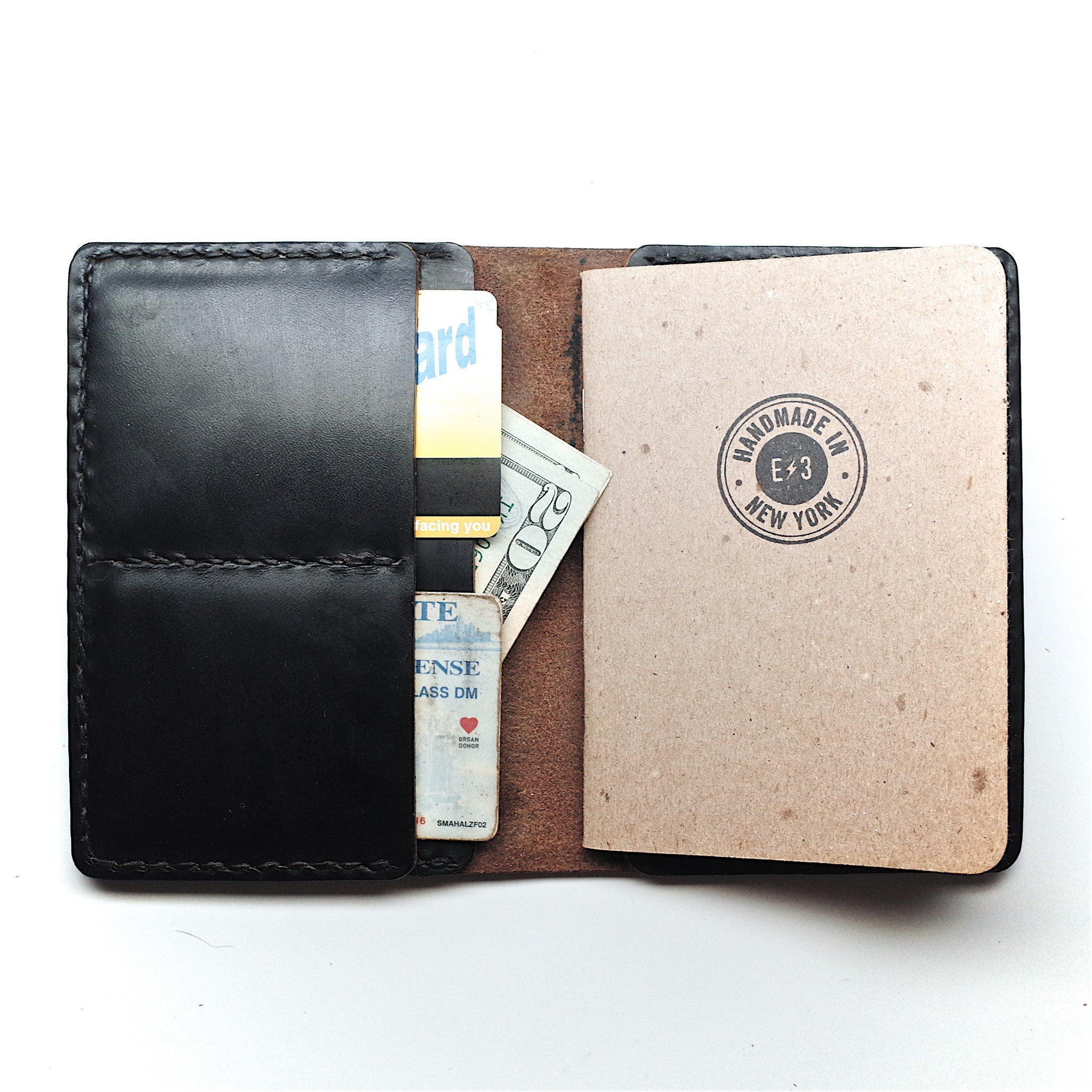 Horween Leather Passport Wallet by E3 Supply Co- Black Chromexcel